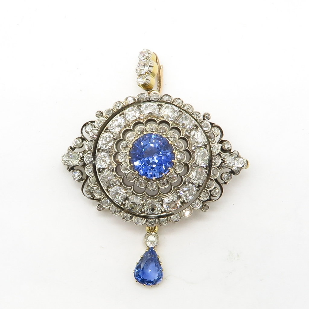 A Beautiful 19th Century Diamond and Sapphire Pendant