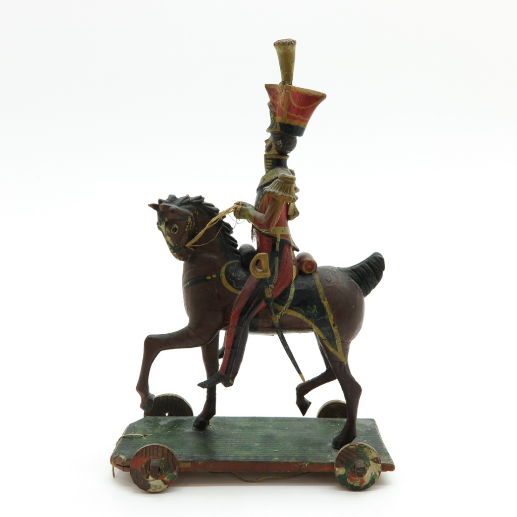 Vintage Pull Toy of Napoleon on Horseback