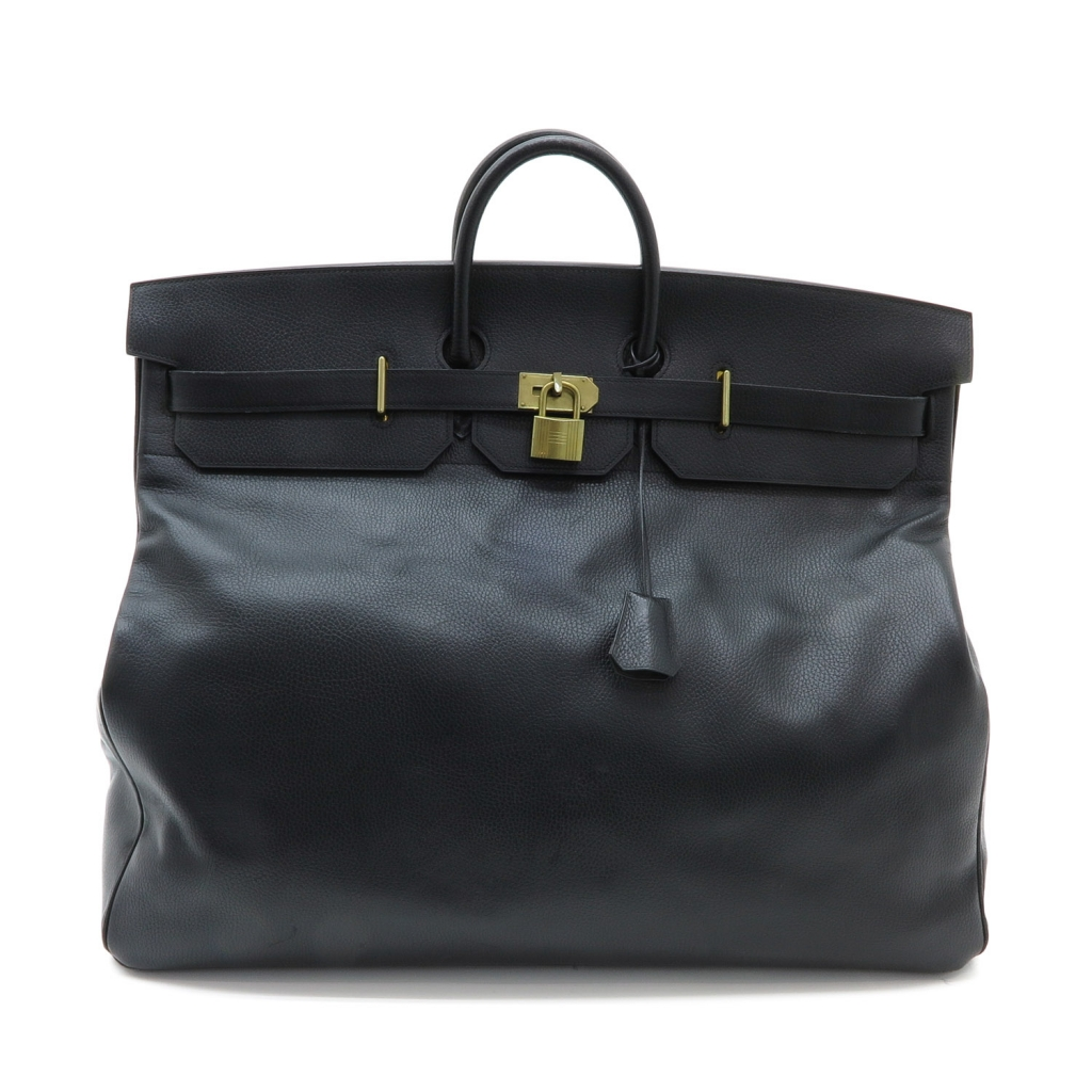 A Large Hermes Black Leather Travel Bag