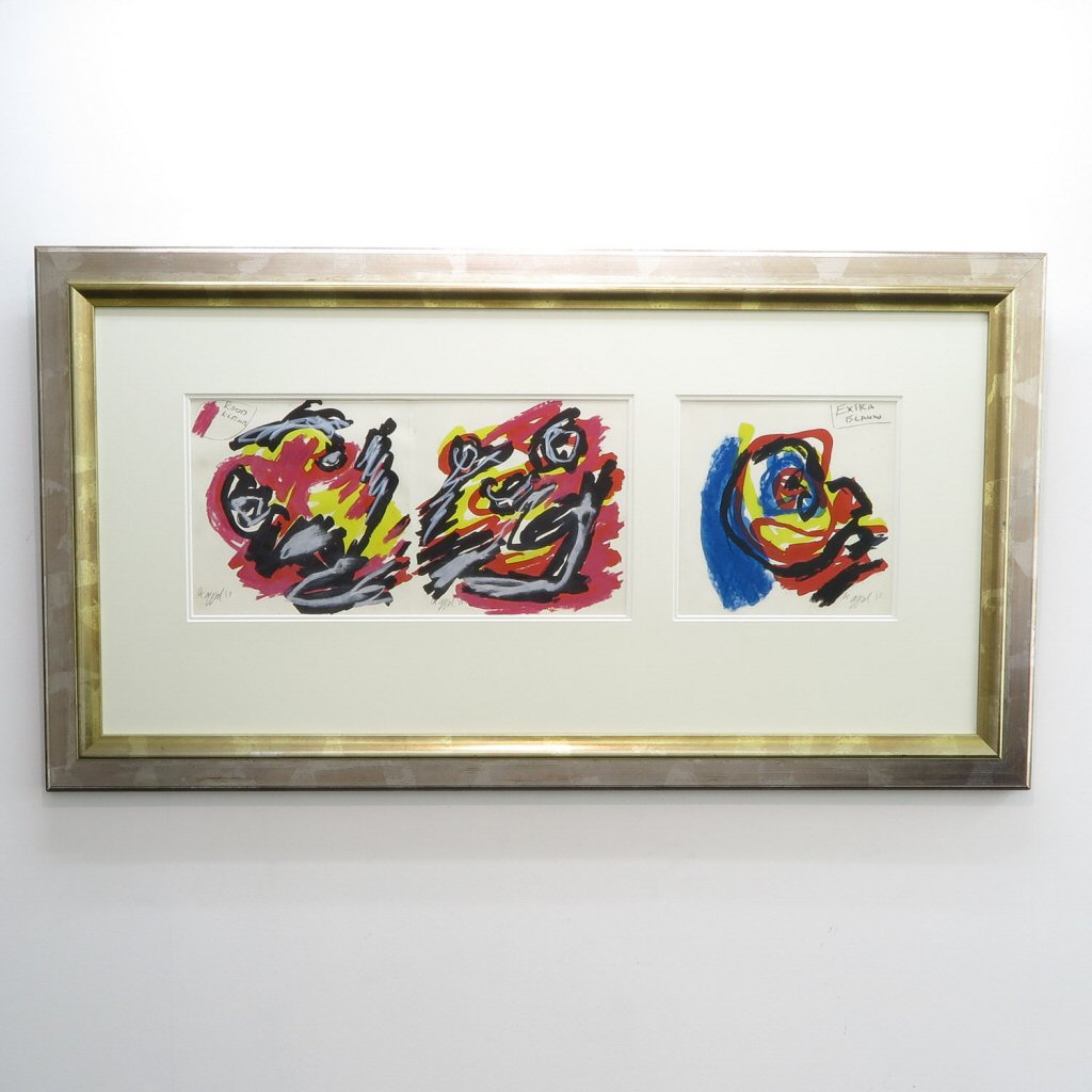 Singed Karel Appel Mixed Media on Paper 1953
