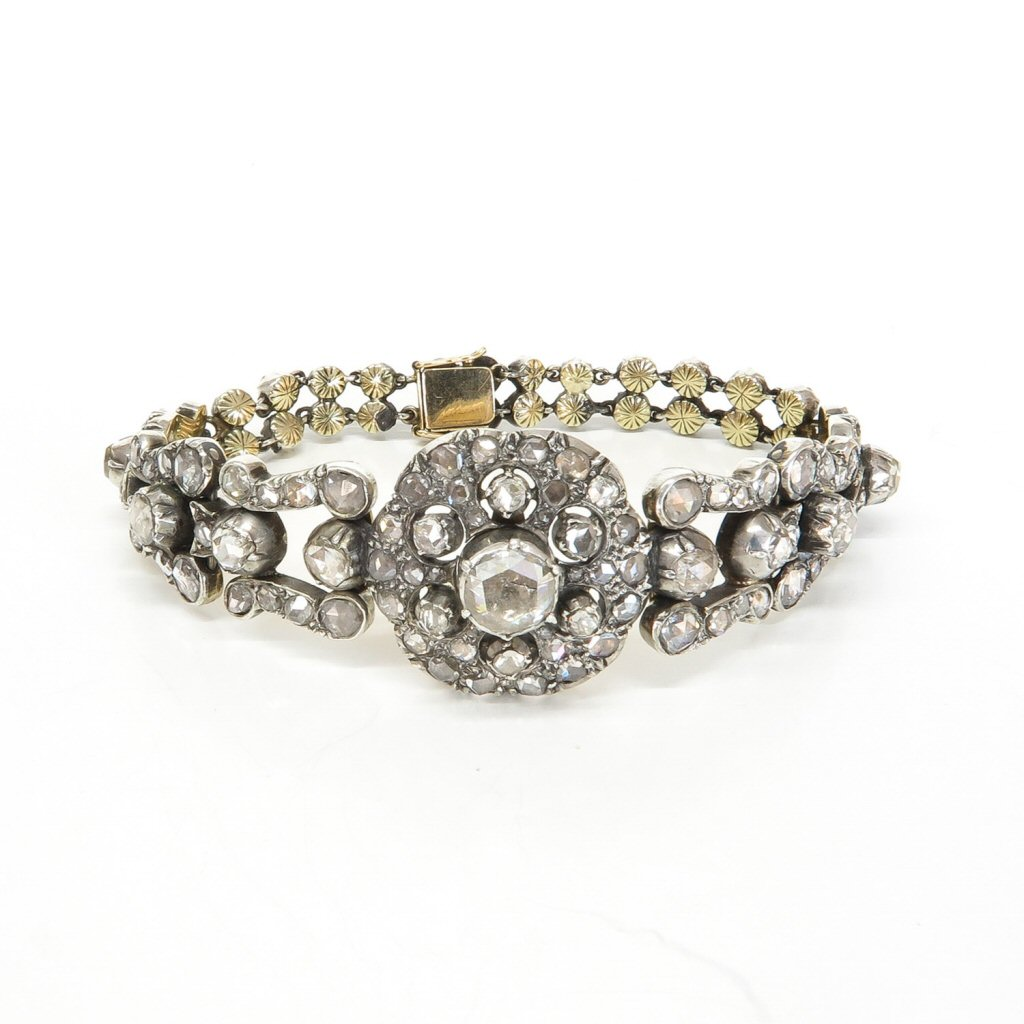 Beautiful Antique Rose Cut Diamond Bracelet Over 1 CTW