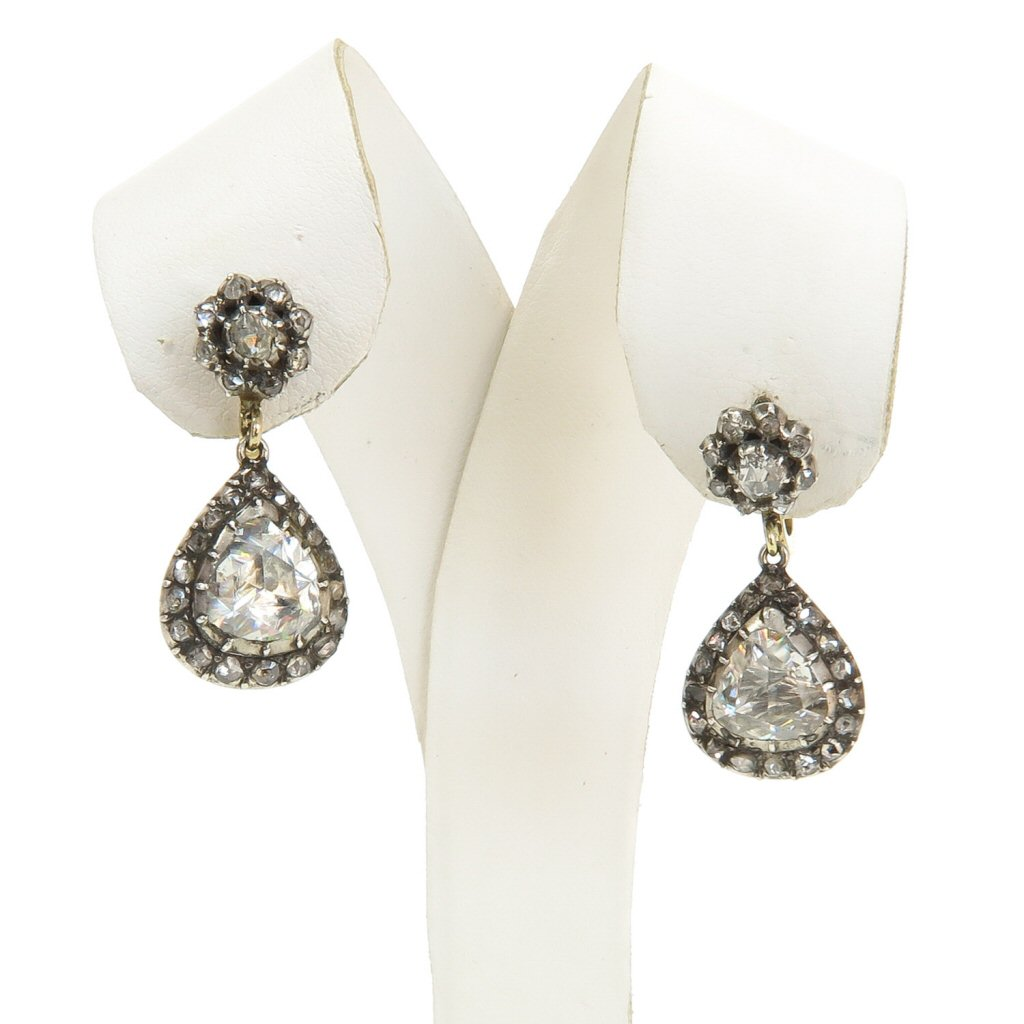 Stunning Antique Diamond Earrings Approximately 2.5 CTW