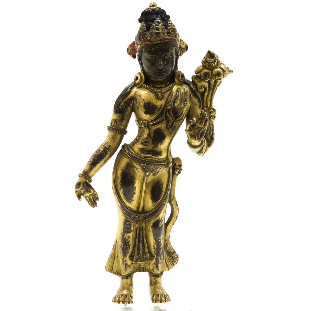 16th / 17th Century Gilt Bronze Buddha Sculpture