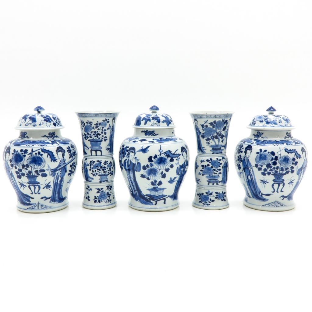 5 Piece China Porcelain Kangxi Period Garniture Set